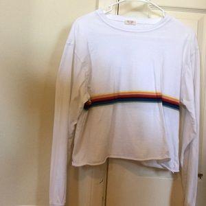 Brandy Melville white rainbow striped long sleeve